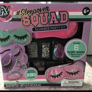 Sleepover squad slumber party kit Masks &Bracelets
